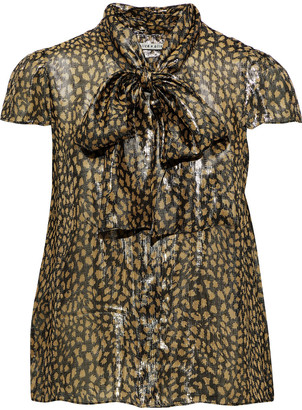 Alice + Olivia Jeannie Pussy-bow Printed Silk-blend Lame Blouse