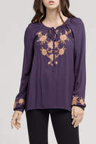 Blu Pepper Embroidered Tie Blouse