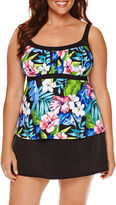 Jamaica Bay Vintage Tropical Frame Peasant Tankini Swim Top - Plus