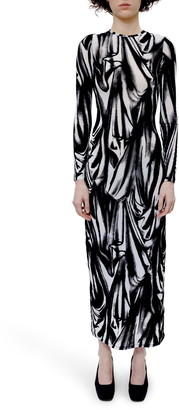 Eckhaus Latta Illusion Print Long Sleeve Maxi Dress