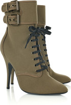 Lace-up canvas ankle boots
