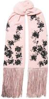 Etro Embellished Metallic Fringed Silk Crepe De Chine Scarf - Lilac