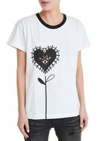 Mother of Pearl Straight Cut With A Contrast Print T-shirt