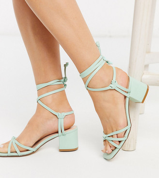 Truffle Collection wide fit mid block strappy tie leg heeled sandals in mint