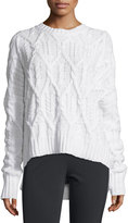 Theory Karenia Aural Cable-Knit Sweater, Ivory