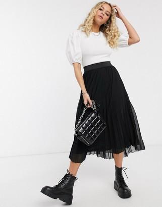 Bershka pleated midi skirt with elasticated waist in black
