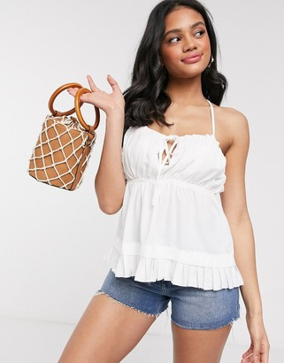 Gilli cami top with cross back detail in white