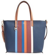 Tory Burch 'Kerrington' Stripe Faux Leather Shopper