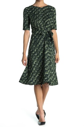 London Times Short Sleeve Tie Waist Midi Dress