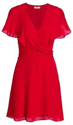 Parker Kate Flutter-Sleeve Knotted A-Line Dress