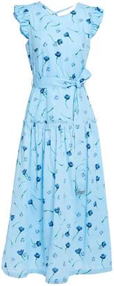 Markus Lupfer Ruffled Floral-print Cotton-poplin Midi Dress