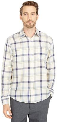 Lucky Brand Long Sleeve Double Weave Mason Workwear Shirt (Blue Plaid) Men's Clothing