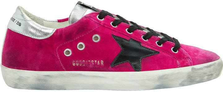 Golden Goose Superstar Pink Velvet Low-Top Sneakers