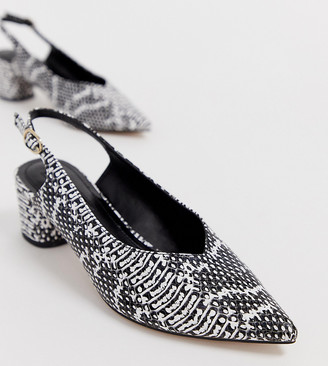 Miss Selfridge pointed block heel with sling back in snake print