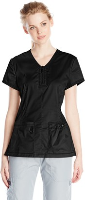 KOI Women's Stretch Mackenzie Figure-Flattering Zip-Front Scrub Top