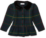 Ralph Lauren Collared Plaid Wool-Blend Sweater, Green/Multicolor, Size 9-24 Months
