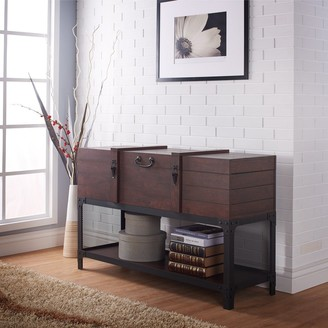 Furniture of America Forr Industrial Walnut Trunk-style Entryway Table