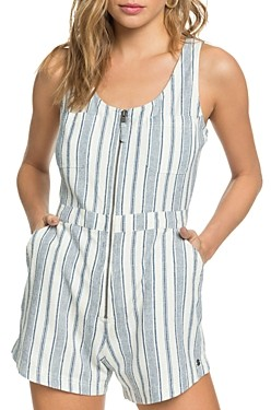 Roxy Roll Up Your Sleeve Striped Romper