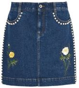 Stella McCartney nashville embroidered denim skirt
