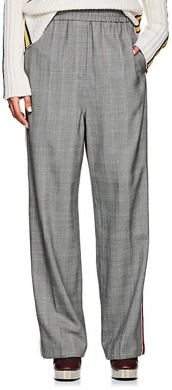 Calvin Klein Women's Embellished Glen Plaid Wool Track Pants