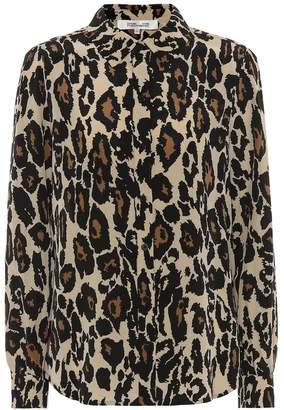 Diane von Furstenberg Mariah leopard-print silk blouse
