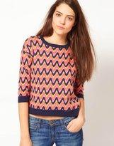 Zig Zag Intarsia Knit Sweater