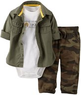 Carter's 3 Piece Terry Layette Set (Baby) - Olive-6 Months
