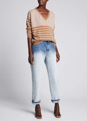 Brunello Cucinelli Wool-Cashmere Variegated Striped V-Neck Sweater