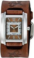 Nemesis Women's 'Square in Square Series' Quartz Stainless Steel and Leather Watch, Color:Brown (Model: BVFB013B)