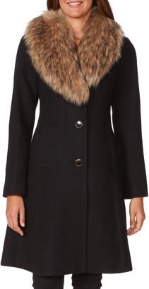 Kate Spade Faux Fur Shawl Collar Fit & Flare Coat