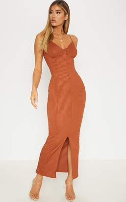 PrettyLittleThing Rust Strappy Plunge Ribbed Midaxi Dress