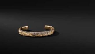 David Yurman Waves Cuff Bracelet In 18K Yellow Gold With Cognac
