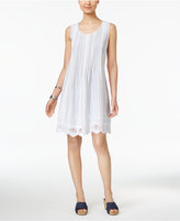 Style&Co. Style & Co Style & Co Petite Cotton Eyelet-Hem Fit & Flare Dress, Created for Macy's