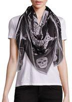 Alexander McQueen Silk-Chiffon Zodiac Skull Scarf