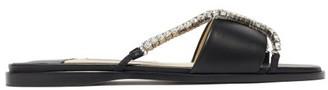 Jimmy Choo Aadi Crystal Cross-strap Leather Slides - Black