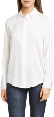 Nordstrom Signature Long Sleeve Stretch Silk Button-Up Shirt