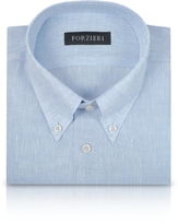 Forzieri Light Blue Linen Dress Shirt