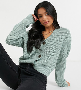 Vero Moda Petite cardigan with volume sleeves in green