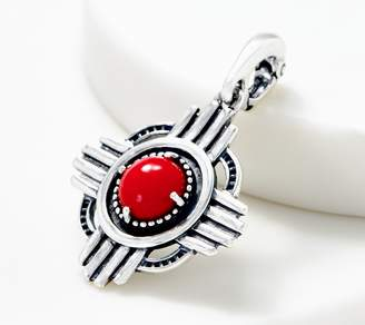 American West Sterling Silver Red Coral Zia Design Enhancer