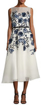 Lela Rose Sleeveless Floral-Embroidered Midi Dress, White/Blue