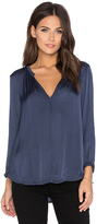 Velvet by Graham & Spencer Haven Satin Viscose V-Neck Long Sleeve Top