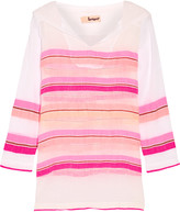 Lemlem Saali striped cotton-blend gauze hooded top