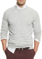 Brunello Cucinelli Athletic Crewneck Sweater, Light Gray