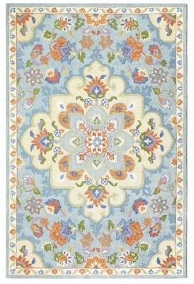 """Blue Area Charlton Home Corby Hand-Tufted Wool Rug Charlton Home Rug Size: Runner 2'3"""" x 8'"""