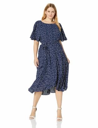 Anne Klein Women's Size Plus Flutter Sleeve SASH Dress