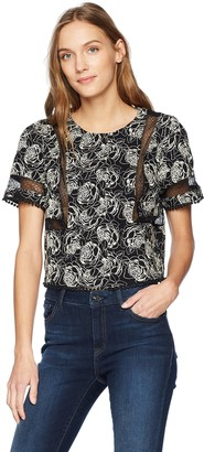 J.o.a. Women's Short Sleeve Crew Neck Top with Lace Trim