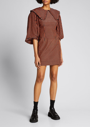 Ganni Seersucker Check Collared Mini Dress