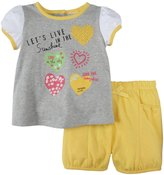 Absorba Hearts Shorts Set (Baby) - Yellow/Grey-6-9 Months