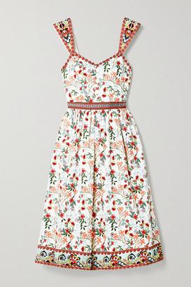 Alice + Olivia Portia Floral-print Cotton-blend Poplin Midi Dress - White