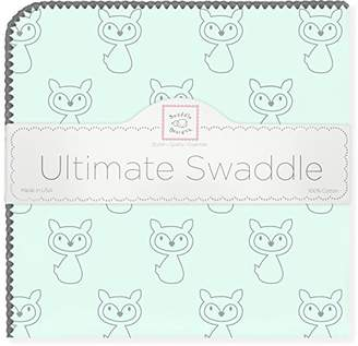 Swaddle Designs Ultimate Winter Swaddle, X-Large Receiving Blanket, Made in USA, Premium Cotton Flannel, Gray Fox on SeaCrystal (Mom's Choice Award Winner)